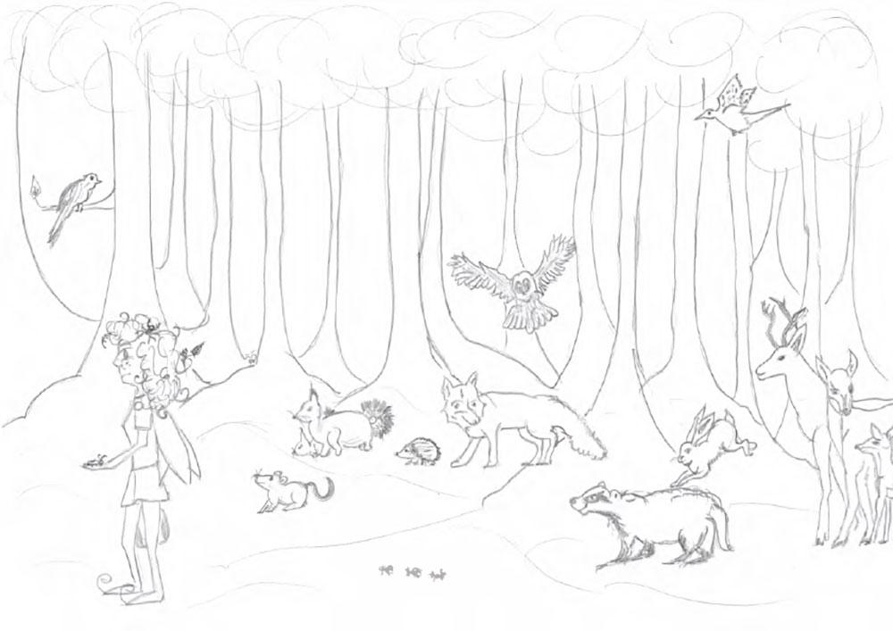 Zeichnung-der-Prozession-im-Wald